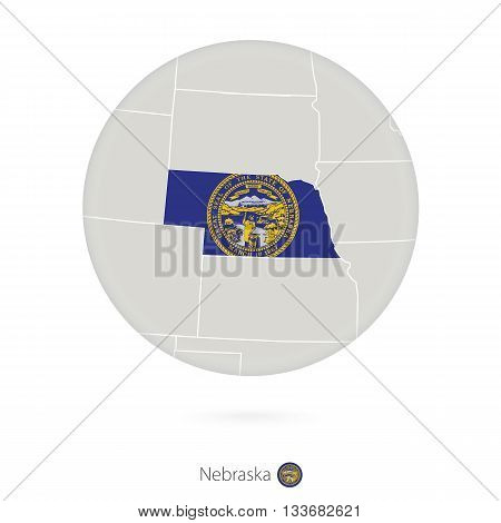 Map Of Nebraska State And Flag In A Circle.