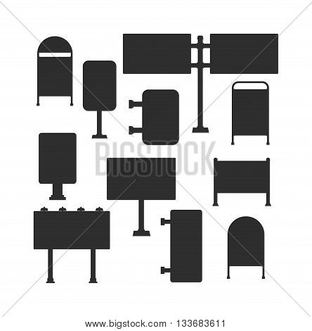 Ad banner vector illustration black silhouette ad banner set. Layout corporate black silhouette ad banner and ad presentation site collection ad banner. Ad banner concept black text poster