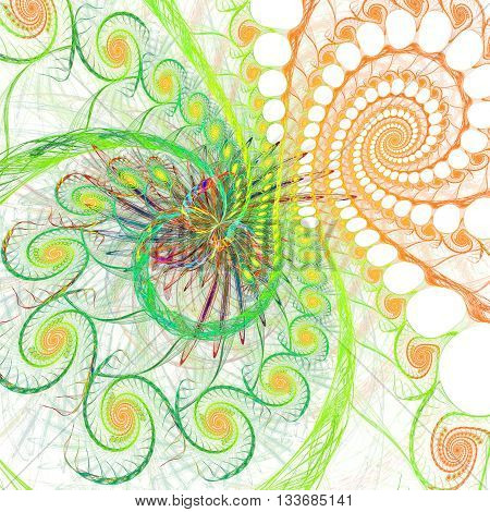 Fractal background with abstract spital shapes. High detailed image.