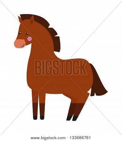 Black stallion with long mane in motion portrait isolated on white background. Cartoon stallion wild animal and stallion farm mammal mane vector. Strong stallion fast speed horse sport animal.
