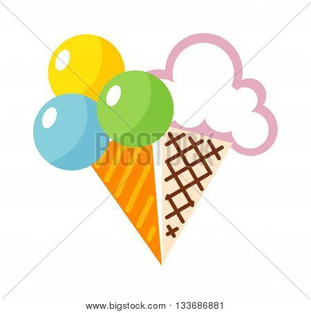 Icecream badges food icon, cold retro dessert vector illustration. Icecream badges frozen sweets and cold summer icecream icon. Icecream icon modern shop style.