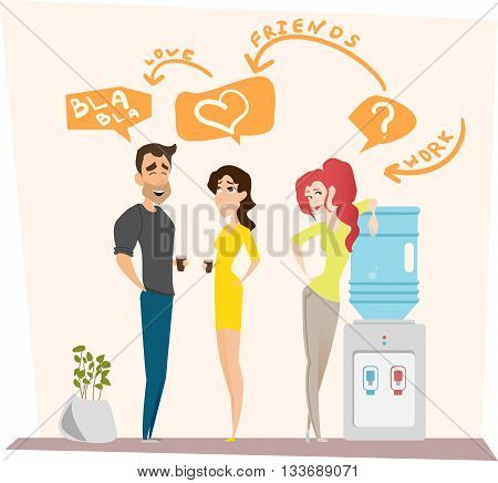 Work romance between two colleagues. Co-working man and woman being in love with each other. Vector illustration. Concept for office romance, flirting at work, love-affair.
