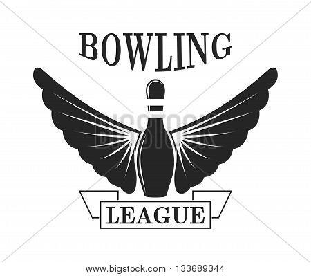 Vector set of bowling logos, bowling logo emblems and bowling logo design elements. Bowling logo logotype templates and bowling logo badges. Bowling logo wings victory, bowling ball sport item.