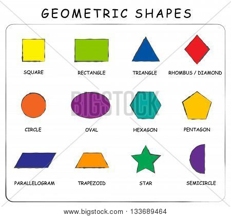 Vector. A set of geometric shapes. Suitable for educational posters for schools books home educational centers or other. Square rectangle circle oval diamond hexagon triangle star trapez...