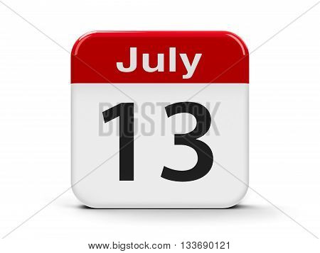 Calendar web button - The Thirteenth of July - Montenegro Statehood Day three-dimensional rendering 3D illustration