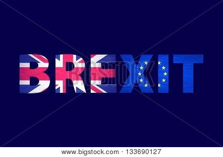 Brexit Text Isolated. United Kingdom Exit From Europe Relative Image. Brexit Named Politic Process.