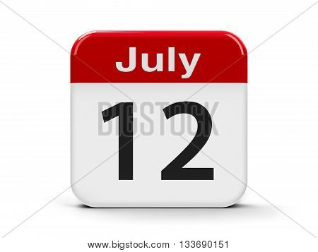 Calendar web button - The Twelfth of July three-dimensional rendering 3D illustration