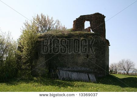 Ruins of an old church. Deserted church surrounded bz vegetation. Small church ruins poster