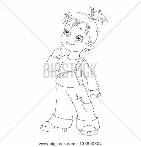 Cartoon character girl. Funny girl hooligan for coloring book.