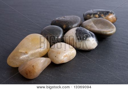 River Stones On Slate