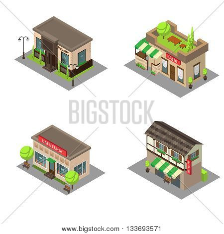 Set vector isometric city building pub cafe restaurant. Isometric icon or infographic element pub cafe and restaurant on white background.