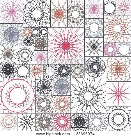 Tile Seamless Pattern With Spirograph. Mandalas In Square Shape. Wallpaper Design, Vector Colorful I