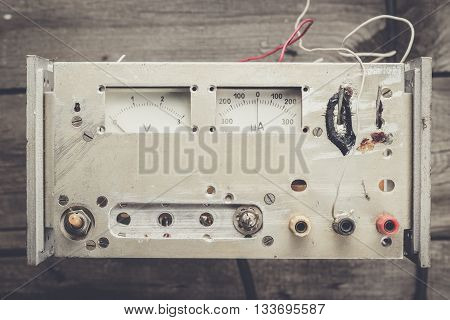 old homemade analogue voltmeter and amperemeter on the table