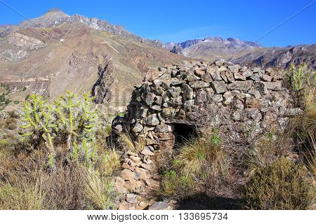 Pre-incan Round House Named Colca Near Chivay In Peru