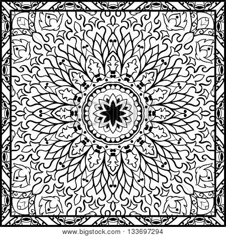 Oriental filigree pattern. Vector black and white ornament. Template for textile carpet coverlet shawls.