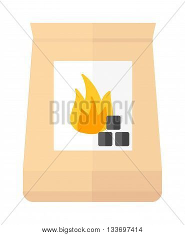 Charcoal coal pack isolated on white. Charcoal coal pack vector icon, Charcoal coal pack fire energy coal black wood. Burn natural hot fuel Charcoal coal pack
