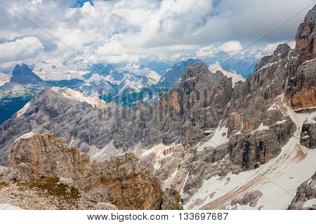 Peaks of the Monte Cristallo Massif in the Dolomites from the Cresta Bianca near to Cortina Italy