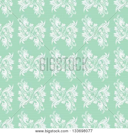 Blue seamless pattern for wall. Wallpaper fabric textile design with mandalas and decorative vintage, trendy color elements.Vector illustration