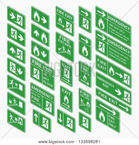 Set of emergency exit isometric sign vector. Fire exit, emergency exit, fire assembly point, evacuation lane re-entry building isometric exit sign. Exit sign isometric green warning.