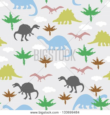 Vector illustration. Seamless ornament made of silhouettes of dinosaurstrees and clouds on grey background.