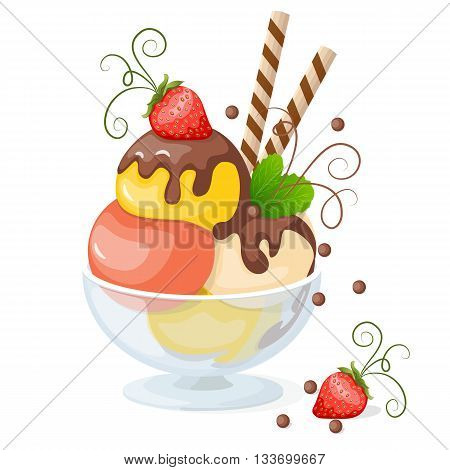 Vector illustration isolated ice cream or frozen yogurt in the glass bowl with strawberry on the white background. eps10