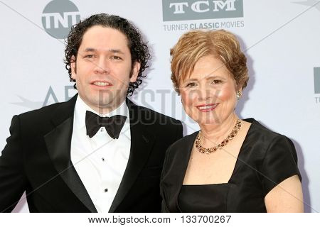LOS ANGELES - JUN 9:  Gustavo Dudamel, Deborah Borda at the American Film Institute 44th Life Achievement Award Gala Tribute to John Williams at the Dolby Theater on June 9, 2016 in Los Angeles, CA