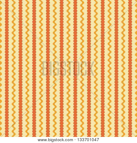 Seamless pattern of vertical wavy lines and strips with undulating rounded edges. Abstract geometric endless print in orange and yellow colors. Vector illustration for fabric, paper and other