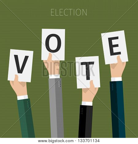 Concept of election. hands holding sheets of paper with the letters Vote, election day campaign. Flat design, vector illustration. poster