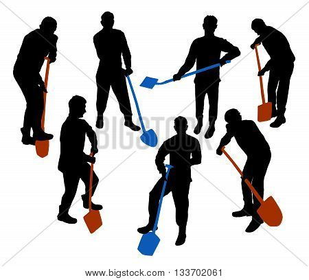 Silhouettes of a working man with spade and shovel. Seven black silhouettes of a boy with working tools