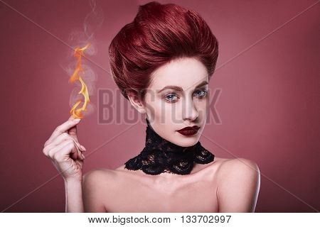 Beauty Stylish Redhead Woman With Hairstyle And Necklace Jewelry