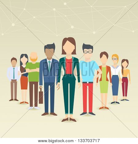 Set of business people collection of diverse characters in flat cartoon style vector illustration