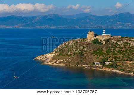 Seashore And Lighthouse In Cagliari, Sardegna