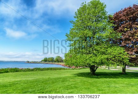 View of Charlottetown Harbor and Victoria Park from the lawn at Beaconsfield on Prince Edward Island, Canada.