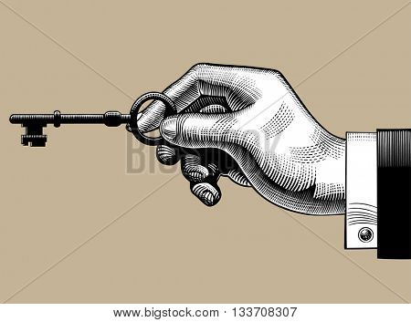 Hand with an old key. Retro style unlock sign and icon. Vintage engraving stylized drawing. Vector illustration