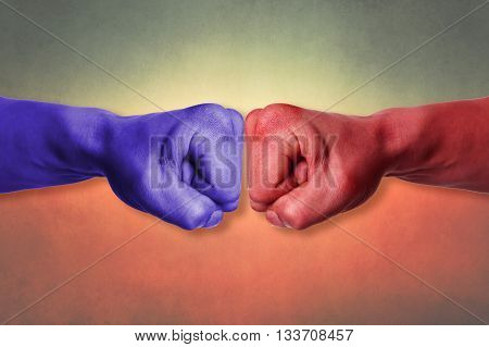 Red and blue strong karate power fists