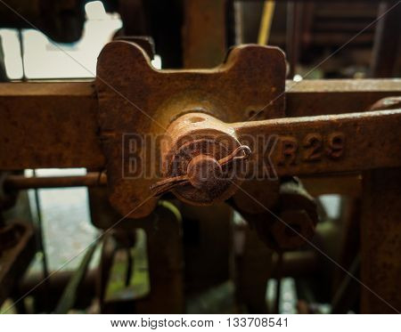 Old rusty and shackle of a mashine