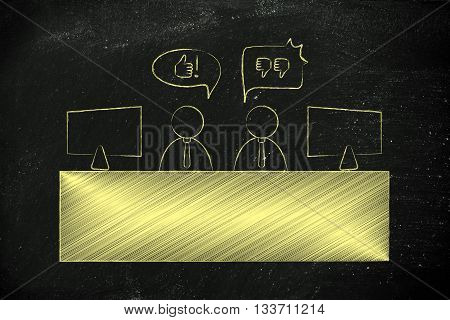 Colleagues Expressing Contrasting Opinions