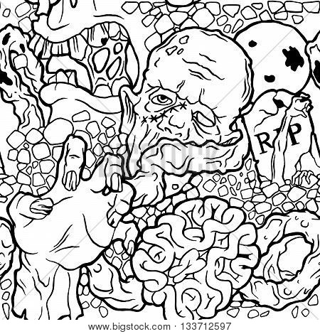 Color seamless halloween pattern with zombie stuff. Black and white