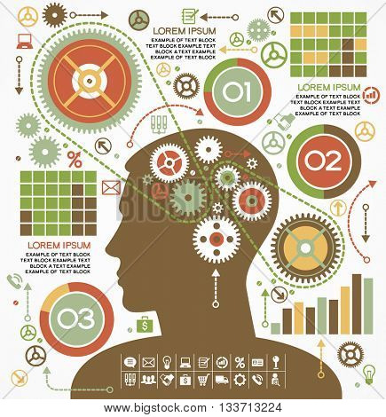 business concepts. the concept of human intelligence. Head and Brain gears in progress.