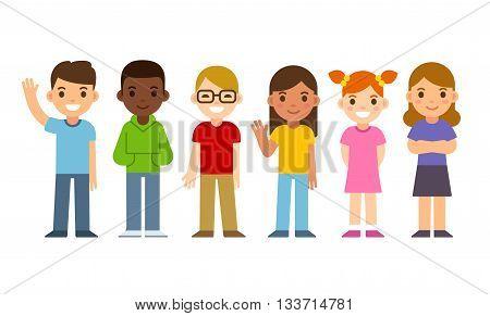 Set of diverse cartoon children. Flat design vector kids boys and girls.