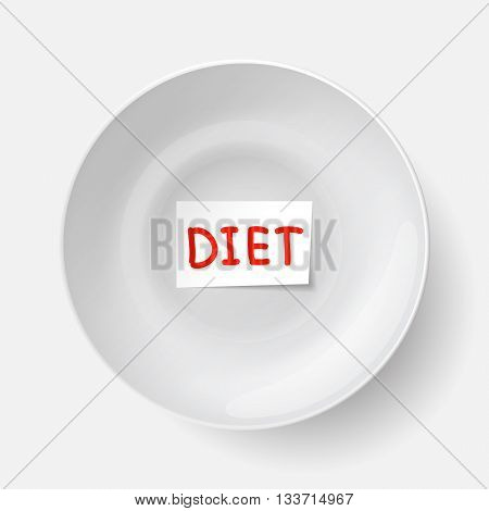 Big white plate with piece of paper with diet inscription inside plate. Ration for those who are dieting. Food restriction and weight loss.