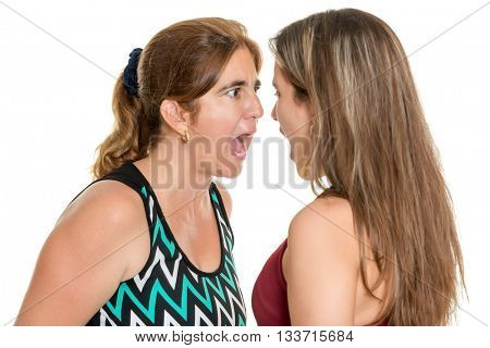 Angry mother and her teenage daughter yelling at each other  - Isolated on a white background