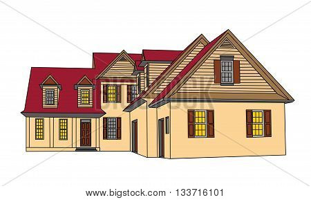 House Isolated on White Background. Single Family Home 3D. vector illustration