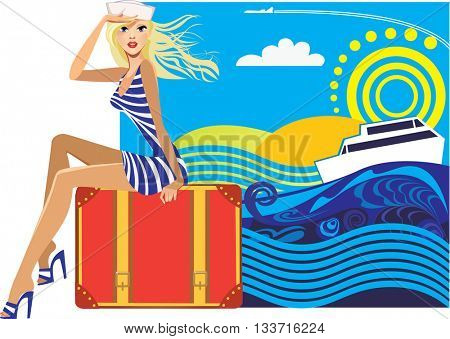 woman traveler sitting on a suitcase on a colored background
