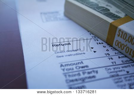 Tax Refund Close Up Stock Photo High Quality
