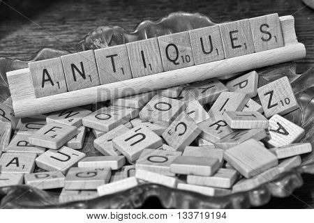 Antiques Sign Written in Scrabble Letters I