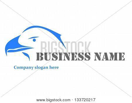 Blue logo with eagle - vector illustration.