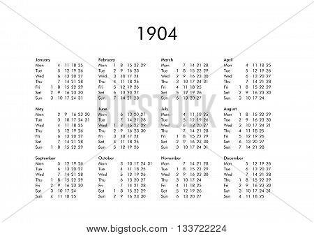 Calendar Of Year 1904