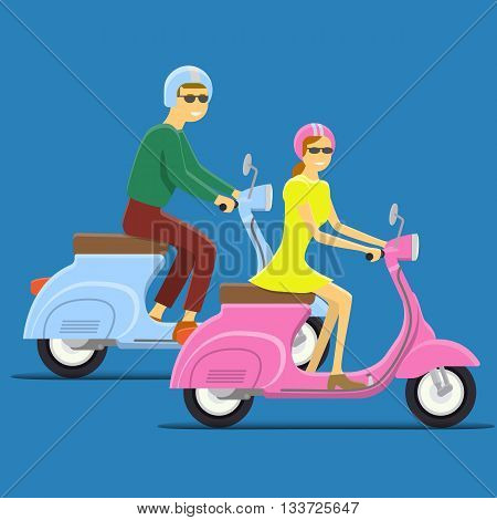 Moped Flat vector illustration. Boy and girl. Retro design