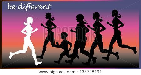 Be different. One girl running in one direction and a lot of people running in the opposite direction. Vector illustration